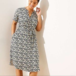 Loft Floral Tie Waist Shirt Dress Plus XXL